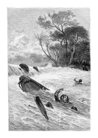 Piscine à la sécurité, en Angola, en Afrique australe, dessin de Bayard basée sur une esquisse de Serpa Pinto, illustration vintage gravé. Le Tour du Monde, Voyage Journal, 1881