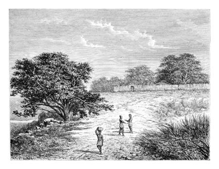 Belmonte boîtier en Angola, en Afrique australe, dessin de De Bar basée sur une esquisse de Serpa Pinto, illustration vintage gravé. Le Tour du Monde, Voyage Journal 1881