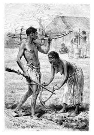 Homme et Femme de Bie en Angola, en Afrique australe, dessin de Maillart basée sur l'édition anglaise, vendange, gravure. Le Tour du Monde, Voyage Journal, 1881 Banque d'images
