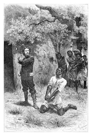 begs: Aogousto Begs for Mercy in Front of Major Serpa Pinto in Angola, Southern Africa, drawing by Bayard based on a sketch and writings by Serpa Pinto, vintage engraved illustration. Le Tour du Monde, Travel Journal, 1881