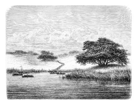 Traverser le fleuve Kwanza, en Angola, en Afrique australe, dessin de De Bar basée sur l'édition anglaise, illustration vintage. Le Tour du Monde, Voyage Journal 1881