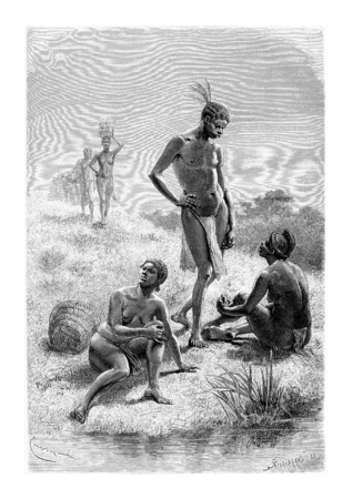 africa antique: Man and Woman from Quimbandes in Angola, Southern Africa, drawing by Bayard based on the English edition, vintage illustration. Le Tour du Monde, Travel Journal, 1881