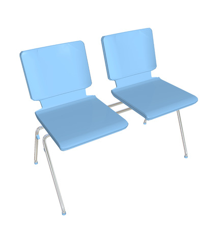 Two-seater stackable plastic chair, blue, metal legs, 3D illustration
