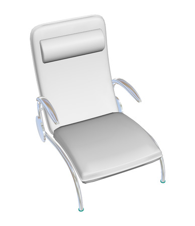 metal legs: Reclining leather lounge chair, white, with armrest headrest, metal legs, 3D illustration Stock Photo
