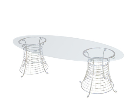 chrome base: Clear glass oval dining table, with metal base, 3D vector illustration