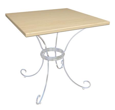 chrome base: Tavolo quadrato caff� in legno, base in ghisa, illustrazione 3D, isolato su uno sfondo bianco.