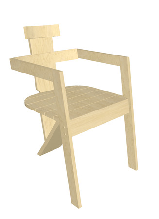 armrest: Wooden chair, natural finish, with armrest,  3D illustration, isolated against a white background. Stock Photo