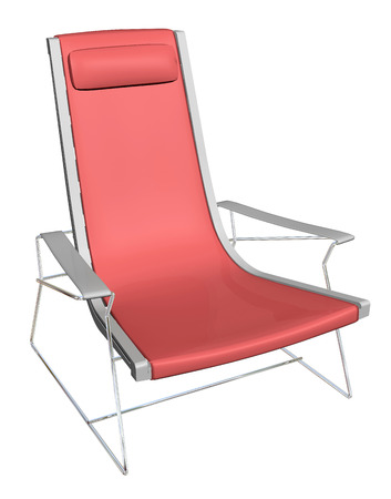 armrest: Plastic lounge chair, red, metal frame, with headrest armrest,  3D illustration, isolated against a white background.