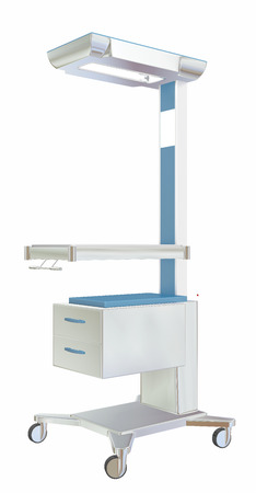 overhead: Mobile medical utility table with two drawers and overhead lamp, white blue, metal, 3D illustration, isolated against a white background.