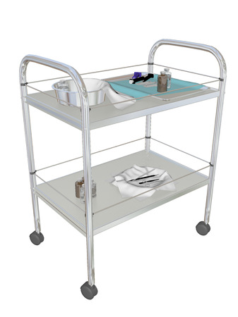 medical equipment: Mobile medical utility cart, 3D illustration, isolated against a white background. Stock Photo