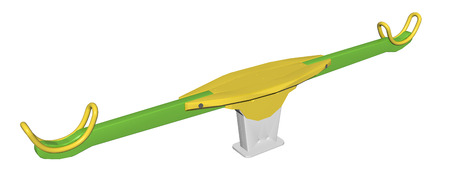 Modern colorful seesaw, green and yellow, 3D illustration, isolated against a white background.