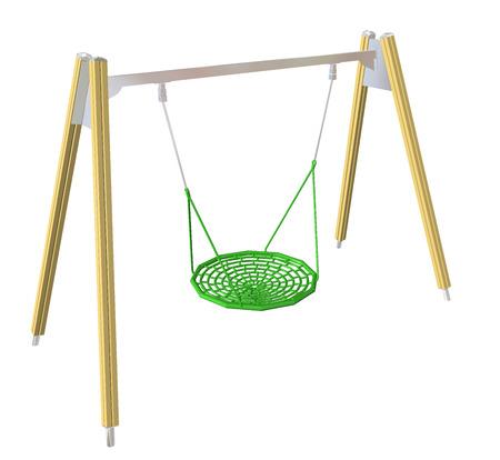Gesaldeerd swing, geel en groen, 3D-illustratie, geïsoleerd tegen een witte achtergrond. Stockfoto