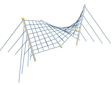 Spelen en klimmen en kruipen net, blauw, 3D-illustratie, geïsoleerd tegen een witte achtergrond.