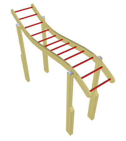 kiddie: Monkey bars, red and yellow, 3D illustration, isolated against a white background.