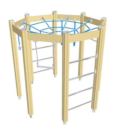 Speel klimmen en kruipen net, geel blauw, 3D illustratie, geïsoleerd tegen een witte achtergrond.