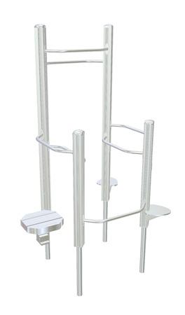 kiddie: Pull-up bars or shower chrome rack, 3D illustration Stock Photo