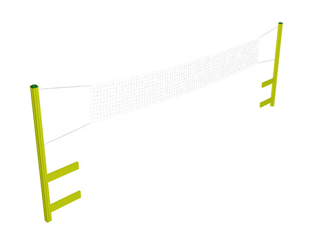 volleyball net: Badminton and Volleyball Net, yellow posts, white net, 3D illustration