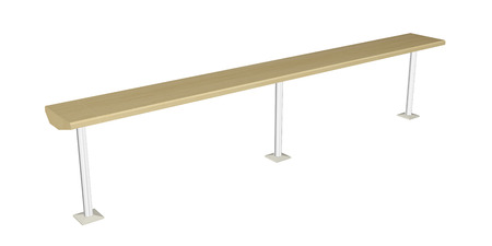 Balance beam or wooden rail, wooden with metal posts, 3D illustration Archivio Fotografico