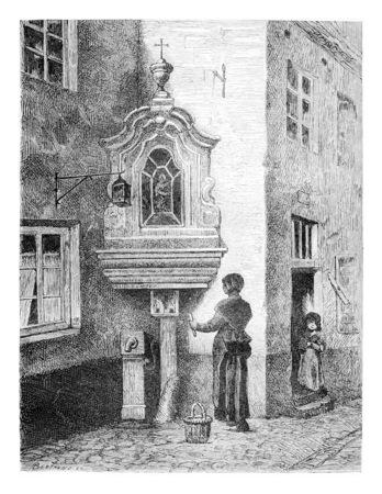 Vieux Bruxelles, Vue d'une rue de Saint-Marin à Bruxelles, en Belgique, dessin de Meanier, illustration vintage. Le Tour du Monde, Voyage Journal 1881 Banque d'images