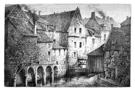 Un coin du vieux Bruxelles, le Reinshmolen à Bruxelles, en Belgique, dessin de Puttaert, illustration vintage. Le Tour du Monde, Voyage Journal, 1881