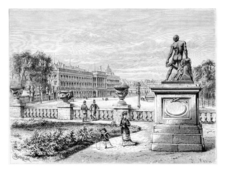 levy: Royal Palace of Brussels in Brussels, Belgium, drawing by Barclay based on a photograph by Levy, vintage illustration. Le Tour du Monde, Travel Journal, 1881