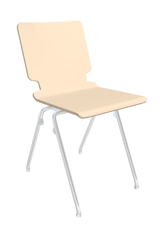 Stackable plastic chair, cream, metal legs,  3D illustration, isolated against a white background.