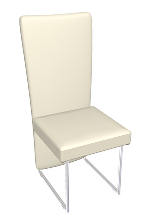 padded: High-back dining leather chair, cream, metal frame,  3D illustration, isolated against a white background. Stock Photo