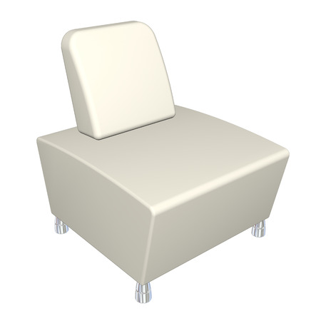 padding: All-leather chair, white, metal feet,  3D illustration, isolated against a white background.