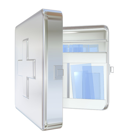 Medicine cabinet, white, wall-mounted, opened,  3D illustration, isolated against a white background. Banco de Imagens