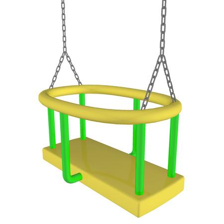 Kinderveilige schommel, geel en groen, 3D illustratie, geïsoleerd tegen een witte achtergrond.