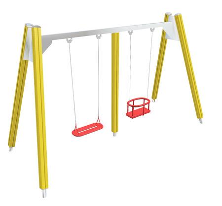 Kindveilige schommel, geel en rood, 3D illustratie, geïsoleerd tegen een witte achtergrond. Stockfoto