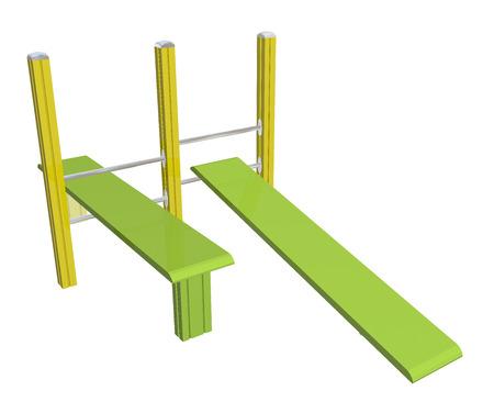 Sit-up boards, horizontaal en hellende, geel en groen, 3D-illustratie, geïsoleerd tegen een witte achtergrond. Stockfoto