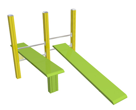 inclined: Sit-up boards, horizontal and inclined, yellow and green, 3D illustration, isolated against a white background.