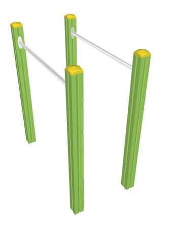 Pull-up bars, 3D-illustratie, geïsoleerd tegen een witte achtergrond.