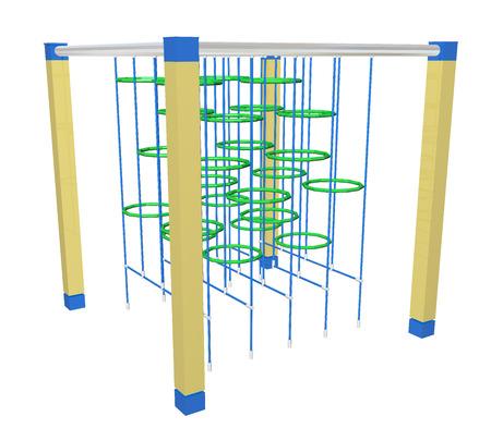 Klimmen bars en ringen, groen, blauw en geel, 3D-illustratie, geïsoleerd tegen een witte achtergrond. Stockfoto