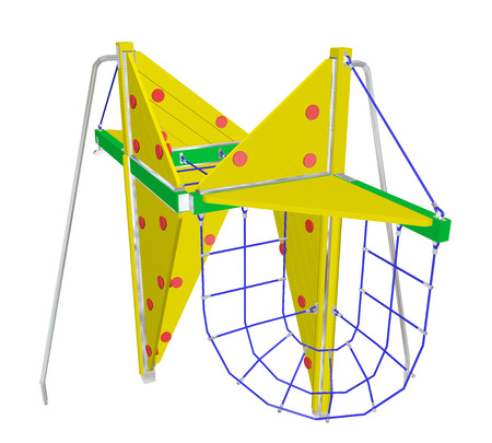kiddie: Play and climbing net, yellow and green, with red dots, 3D illustration, isolated against a white background.
