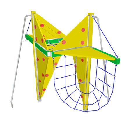 Spelen en klimnet, geel en groen, met rode stippen, 3D-illustratie, geïsoleerd tegen een witte achtergrond.