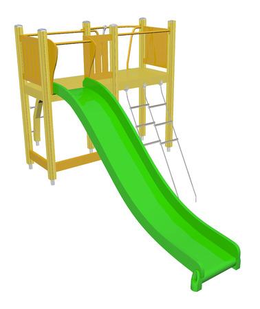 Kiddieglijbaan, groen en geel, 3D illustratie, geïsoleerd tegen een witte achtergrond.