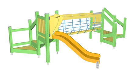 Kiddie Slide and Crawling Net, geel en groen, 3D illustratie, geïsoleerd tegen een witte achtergrond.