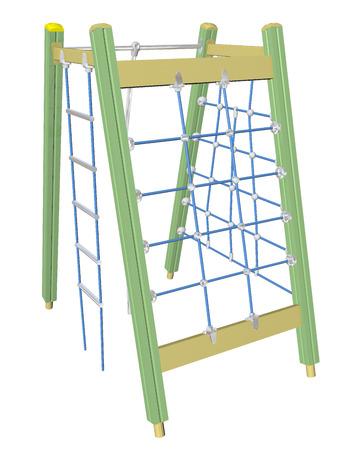 Spelen en klimnet, geel, groen, blauw, 3D-illustratie, geïsoleerd tegen een witte achtergrond. Stockfoto