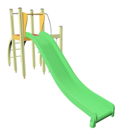 sliding colors: Kiddie slide, green, 3D  illustration, isolated against a white baackground