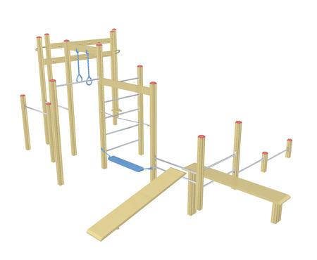 Sit-up en pull-up bars, 3D-afbeelding, geïsoleerd tegen een witte achtergrond Stockfoto