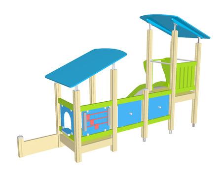 Speelhuisje met glijbaan, blauw groen en geel, 3D illustratie