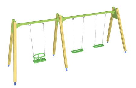 Kindveilige swing, geel en groen, 3D illustratie
