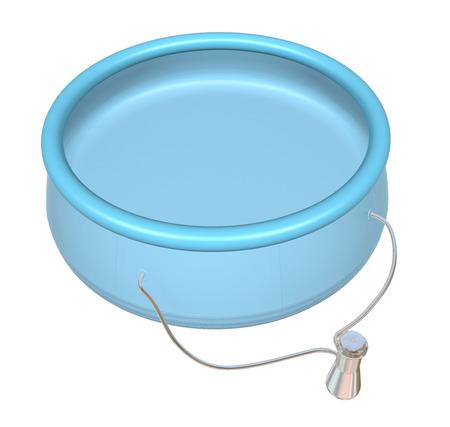 Kiddie opblaasbaar zwembad, blauw, 3D-illustratie, geïsoleerd op wit