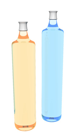 Shampoo bottles, orange and blue, 3D illustration illustration