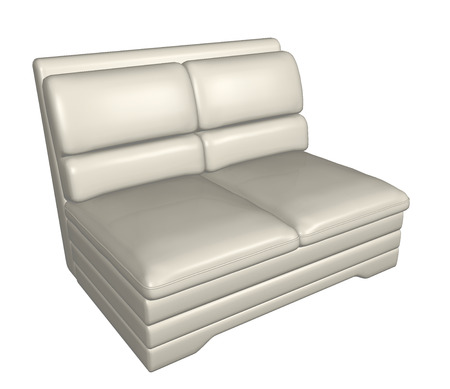 seating furniture: Two-seater all-leather sofa, white, 3D vector illustration Stock Photo