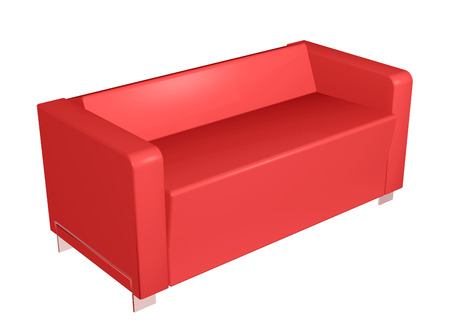 All leather sofa, red, 3D illustration Stock Photo
