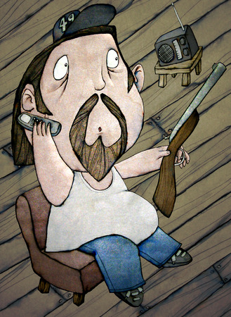 celphone: HillBilly, on the Phone, with a Rifle, and Listening to the Radio, artistic made Color Illustration
