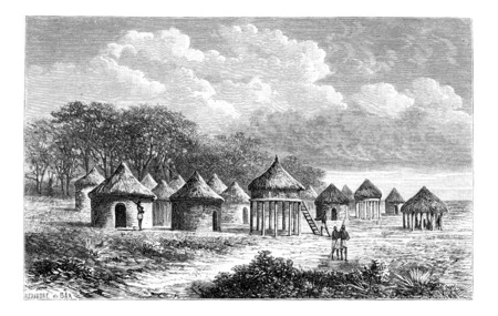 english village: Cambouta Village, in Angola, Southern Africa, drawing by De Bar based on the English edition, vintage illustration. Le Tour du Monde, Travel Journal, 1881